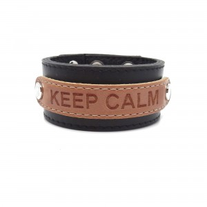 Leather bracelet - KEEP CALM, black
